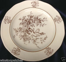 """CLAIRE WILSON'S HEAVEN POTTERY DINNER PLATE 10.5"""" WHITE & BROWN DOVES & FLOWERS"""