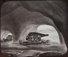 Glass Magic Lantern Slide THE GALLERIES GIBRALTAR C1890 DRAWING CANNONS