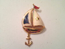 Vintage Signed AVON White Blue Enamel Sailboat Anchor Charm BROOCH Pin Gold Tone