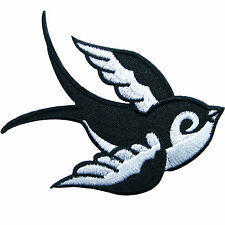 Bird Right Swallow Swiftlet Dove Rock Biker Hippie Rockabilly Iron-On Patch A079