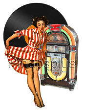 50s Vintage Pin-up Girl Waterslide Decal / Sticker Rockabilly S278 by Pinupsplus