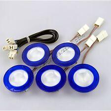 Diag Halogen Einbau Strahler Set blau inkl. 5x G4 20W Kabel Trafo 105W Spots