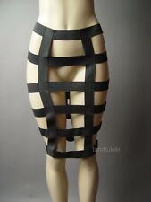 Black Bandage Strap Cage Cutout Avant Garde Cyber Goth Punk Pencil 96 ac Skirt L