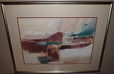 LARGE John Alan Stock Contemporary Watercolor Signed Mixed Media Framed Matted