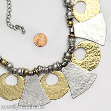 Chico's Signed Necklace Silver & Gold Tone Reversible Bold Chunky Statement Bib