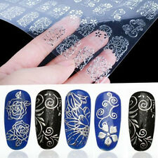 3D  108 Silver Flower Nail Art Stickers Decals Decorations Transfers Design Form