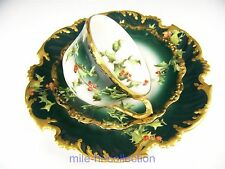 LIMOGES FRANCE HAND PAINTED HOLLY BERRIES TRIO TEA CUP SAUCER PLATE SET