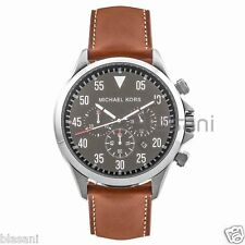 Michael Kors Original MK8333 Men's Gage Silver Brown Leather Strap Chrono Watch