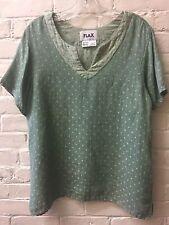 FLAX *S* XL Moss Green Soft Linen Short Sleeve Top Blouse