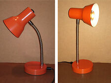 Lampe de bureau métal flexible orange vintage ancienne old desk lamp #3