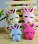 2Pcs Kids Baby Plush Toy Cartoon Rabbit Lovely Squinting Bowkot Stuffed Toys MW