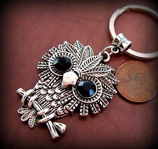 OWL Jewelry Keyring - Vintage Art Deco Indian style - Steampunk Retro look