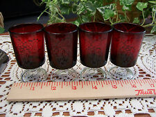 Set 4 Vtg Arcoroc Luminarc RUBY RED Stemmed Cordial SHOT GLASSES France **MINT**
