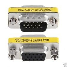 15 Pin VGA SVGA Male To Female M/F Plug Coupler Gender Changer Adapter Connecter
