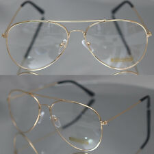 Aviator driving Designer Glasses Unisex Retro Gold Metal Frame Clear Lens