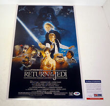 GEORGE LUCAS SIGNED STAR WARS THE RETURN OF THE JEDI MOVIE POSTER PSA/DNA COA