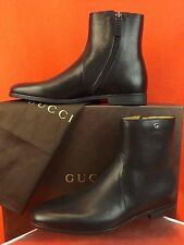 NIB GUCCI DEROY DARK BROWN BULL LUX LEATHER G LOGO ZIP ANKLE BOOTS 7.5 8.5 $680