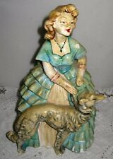 **VINTAGE VICTORIAN WOMAN CHALKWARE FIGURINE IN BLUE RUFFLES AND GREYHOUND DOG**
