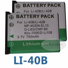 2x LI-40B LI-42B Battery For Olympus Fuji NP-45 Digital Camera Pentax D-Li63