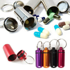 1Pcs 45mm Aluminum Pill Box Bottle Holder Container Keychain Keyring Outdoor