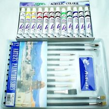 ACRYLIC PAINTS AND BRUSHES SET HOBBIES CRAFTS MODEL PICTURES EQUIPMENT KIT ART