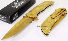 MC Ballistic Gold Titanium Buck Deer Spring Assisted Opening Pocket Knife