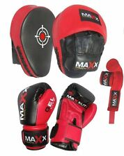 Maxx BOXING GLOVES & LEATHER CURVED FOCUS PADS HAND WRAPE MMA  Boxing punchbag