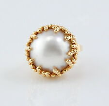 14K SOLID YELLOW GOLD 15MM MABE PEARL COCKTAIL RING SIZE 2.5 NO RESERVE