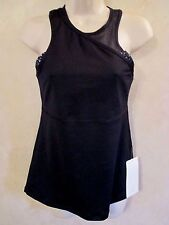 NWT LULULEMON SZ 2 Black MESHED UP Running Fitness 2 IN 1 TANK TOP & SPORTS BRA