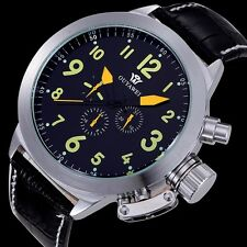 Mens Automatic Mechanical Black Dial Date 24 Hours Leather Wrist Watch Gift