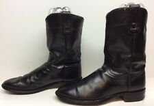 MENS ROY COOPER WESTERN ROPER LEATHER BLACK BOOTS SIZE 8.5 D