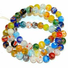 """G4161L2 Assorted Color Mix 6mm Round Millefiori """"Flower"""" Glass Beads 14"""""""