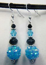 CAROLINA PANTHERS, NFL SUPERBOWL CRYSTAL GLITTER BALL DANGLE EARRINGS, TAILGATE