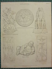 1816 DATED ANTIQUE PRINT ~ SCULPTURE ~ CHINESE STATUE COLOSSAL AT THEBES DURGA