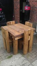 Space Saving Chunky dining garden table and 4 chairs solid wood