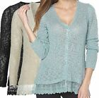 Ladies UK Plus Size 6 - 24 Lace Cardigans in Black Duckegg or Cream