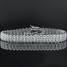 Ladies Genuine 2.00CT Diamond 14K White Gold Finish Tennis S-Link Bracelet, 7.5""