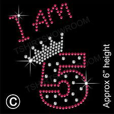 """I am 5"" Birthday Girl Rhinestone Transfer Hotfix Iron on Motif with a Free Gift"
