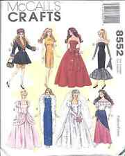 """8552 UNCUT McCalls Sewing Pattern Fits Barbie Doll Clothes 11.5"""" FF Wedding Gown"""