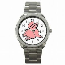 Flying Pig When Pigs Fly Stainless Steel Watch New!
