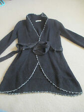 R01 Stunning open front long black cardigan with belt silver trim Jus D'Orange S