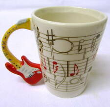 Novelty Red Electric Guitar Themed Coffee Cup / Stave Decal. Gift Boxed