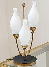 LAMPE DE TABLE MUGUET 1950 VINTAGE ROCKABILLY 50'S LAITON VERRE ANNEES 50