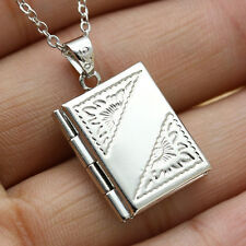 Special Silver Photo Frame Nice Square Box Locket Pendant Unisex Necklaces Chain