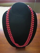 Vintage Lucite Bead Necklace Dark Pink Strand String Beads-Free Shipping