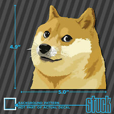 "Doge Head - 5.0""x4.9"" - printed vinyl decal sticker shiba much wow meme dog"