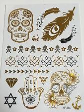 Planche de 14 Tatouages éphémères métallique waterproof. Tattoo tete de mort
