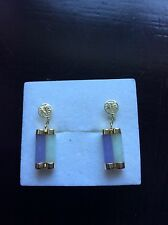 Stunning 14ct Yellow Gold Jade Drop Earrings Chinese symbol 3.20 grams