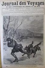 JOURNAL DES VOYAGES N° 71 de 1878 SUEDE PATINS GLACE PATINEUR POURSUITE DE LOUPS