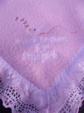 Thank Heaven For Little Girls Pink Security Blanket Baby Lovey Fleece Lace Satin